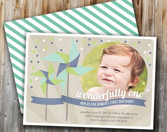 Birthday Invitation: Boy, Pinwheel, Blue, Green, Personalized, Custom