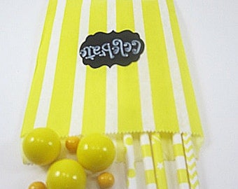 24- 5X7 Yellow and White Vertical Striped Bags, Treat Bags, Favors, Candy Buffet, Wedding