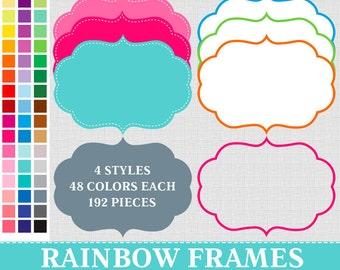 BUY 1 GET 1 FREE - 192 Digital Rainbow Frames Labels Clip Art . Commercial and Personal use,