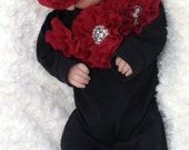 Black Romper Baby Girl Romper Set Infant One Piece Set with Burgundy Chiffon Flowers and Headband