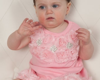 Baby Girl Pink Dress Infant Cotton Black Dress with Shabby Chiffon and Rhinesotnes