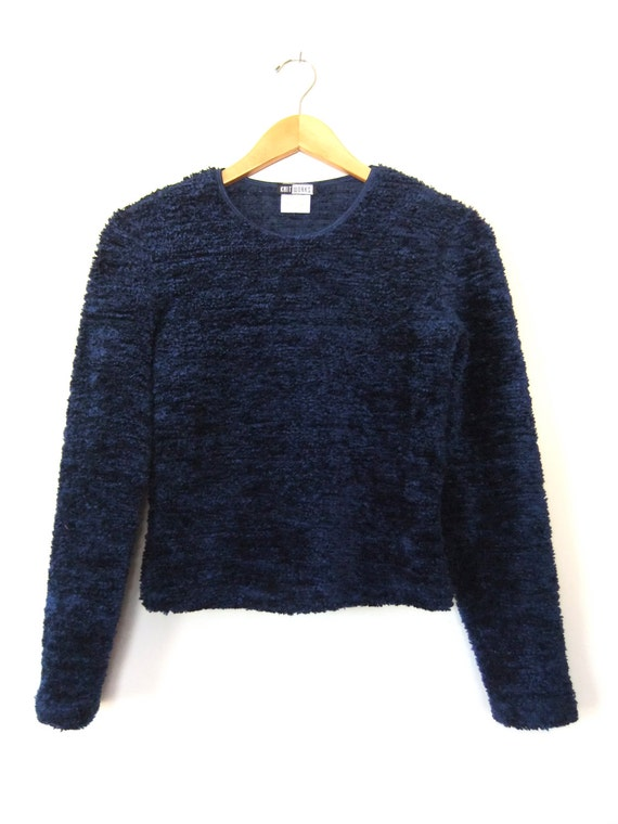 90s Fuzzy Crop Top Sweater Navy Blue Shaggy Faux Fur Cropped