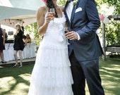 Boho Wedding Dress White Lace Bohemian Wedding Dress Unique Gipsy Wedding Dres Long Bridal Wedding Gown Ruffles Handmade by SuzannaM Designs