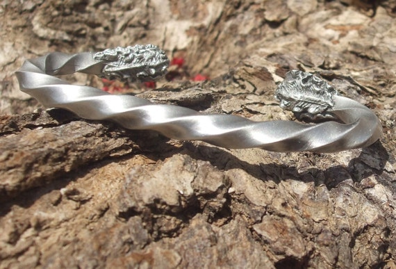 Thors twist viking style arm ring bracelet with acanthus leaves handcrafted fine silver pewter bracelet