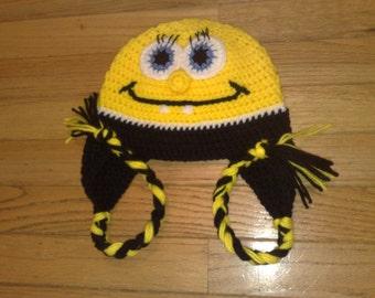 Spongebob Hat, Crochet Spongebob Hat, Baby Girl Hat, Baby Boy Hat, Newborn Hat, Infant Hat, Adult Hat, Kids Hat, Toddler Hat, Ready to Ship