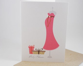 Baby Shower Card - Pink Pregnancy Dress with Presents - BBYSHW013