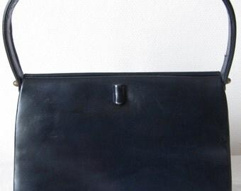 1950's Lady handbag  black leather