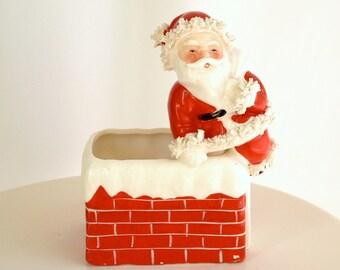 Vintage Mid Century Santa Planter  /  Rare Numbered Napco Porcelain Spaghetti Trim Christmas Decor
