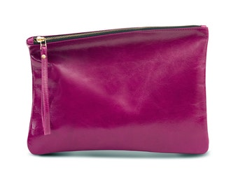 Magenta Leather Purse, Evening Bag, Fold over Leather Clutch
