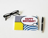 Happy Birthday Card 60s Inspired Pop Art Super Hero Comic Book Art Birthday For Dad Red White Blue Black Yellow Birthday Card - 102C