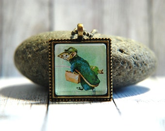 "1"" Square  Glass Pendant Necklace or Key Chain - Beatrix Potter - Johnny Townmouse"