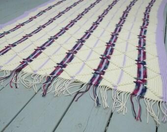 Vintage Crocheted Afghan Purple Lavender Pink Fringe