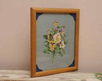 Vintage Floral Bouquet Print Blue Leather Mat Oak Frame