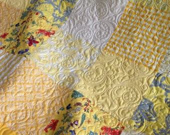 King Patchwork Quilt with Floral Fabrics King Size Custom Wedding Heirloom Bed Quilt