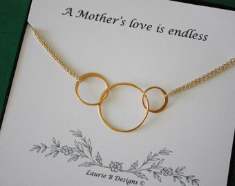 Mother Infinity Necklace, Mom, Family Circle, Gold Filled, Good Karma, Circles, Thank you card
