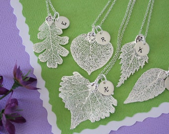 9 Silver Leaf Personalized Bridesmaids Gift, Bridesmaid Necklace, Real Leaf, Thank You Card, Initial Jewelry, Sterling Silver Charm