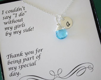Bridesmaid Initial Necklace Gift, Personlized Jewelry, Bridal Party, Gemstone and Initial, Gift Set, Sterling Silver, Wedding