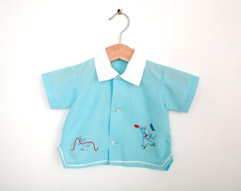 Vintage Sailor Top Newborn 1960s / Baby Boy Sailor Shirt / Baby Boy Blue Shirt