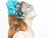60% off Blue Star - Floral crown with star veil - ready to ship - Spring Sale