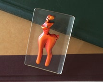 BAKELITE Resin Washed Deer on Clear Lucite Pin 1940s Vintage