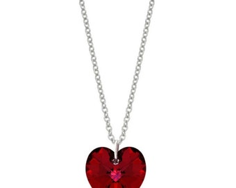 Swarovski Elements Red Necklace, Siam Heart, Sterling Silver, Hallmarked 925, British London Gift Jewellery UK, Luxe Jewelry Gifts for Her