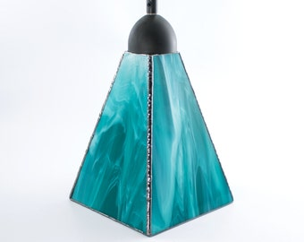 Stained Glass Pendant Lighting, Ceiling Fixture, Modern Design, Glass Shade, Kitchen Island Light, Hanging Lamp, Stain Glass, Teal and White
