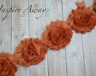 RUST Shabby Chiffon Flower Trim - Your choice of 1 yard or 1/2 yard -  Chiffon Shabby Rose Trim, DIY headband supplies,