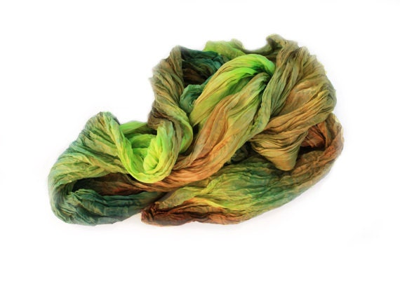 green scarf, green silk scarf - Forest Fairy - olive, chartreuse, dark green, light green, brown silk scarf.