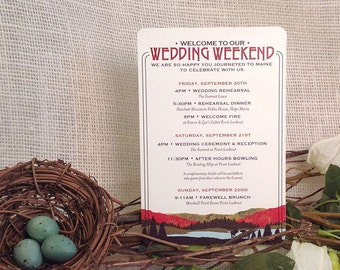 Craftsman Fall Appalachian A2 Wedding Weekend Itinerary Card: Get Started Deposit