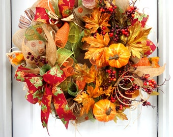 LARGE!!! Pumpkins and Berries Wreath - Autumn Wreath - Fall Wreath - Fall Decoration - Deco Mesh Wreath - Door Decoration - Outdoor Fall