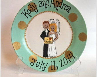 Hand Painted Decorative Wedding Couple Plate