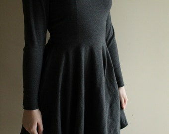 Grey Skater Dress with Full Circle Skirt - Made to Measure