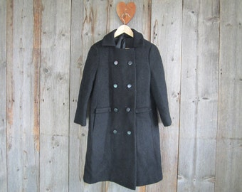 Vintage black dress coat//70s Meier and Frank dressy wool coat