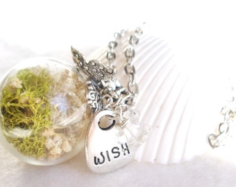 Glass orb necklace, orb necklace encases baby's breath and reindeer moss with silver accents