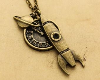 Steampunk Rocket  Necklace - Sci-fi Antique Bronze Cabochon Pendant