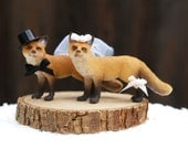 Fox Wedding Cake Topper - Woodland Wedding Cake Topper - Bride Groom Figurine - Rustic Country Farm Cute Animal Wedding Cake Topper Decor