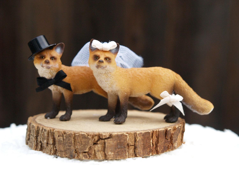 Fox Wedding Cake Topper Woodland Wedding Cake Topper Bride