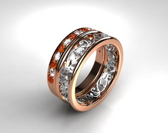 Orange sapphire filigree engagement ring set, white gold, rose gold, diamond ring, orange engagement, half eternity, unique, two tone
