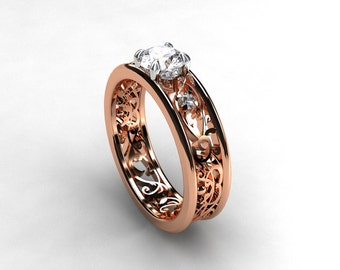 0.56ct Diamond engagement ring, rose gold filigree, diamond wedding ring, white gold, two tone, unique diamond ring, filigree engagement
