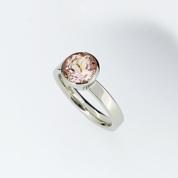... white gold, solitaire, morganite wedding ring, bezel,. 🔎zoom