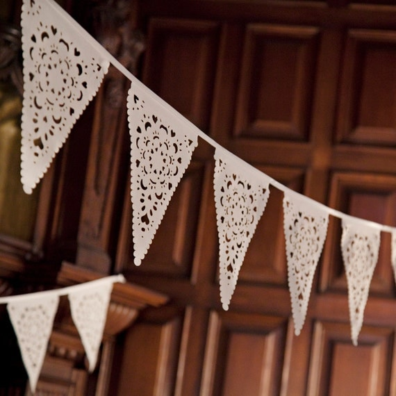 Wedding garland, ivory lace bunting, perfect romantic venue decoration