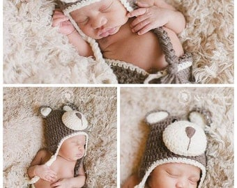 Brown/Cream or Pink Baby Hat and Diaper Cover Teddy Bear Crochet Set Photography Prop