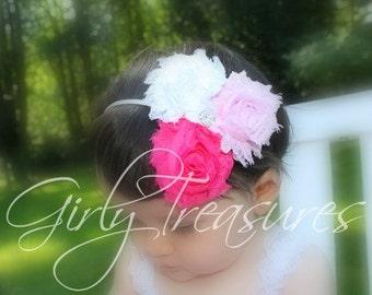 Pink Chiffon Flower Headband - Shabby Chic Headband - Newborn Baby Infant Toddler Girls Adult