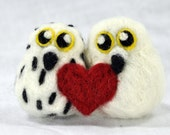 Needle Felted Snowy Owl Lovebird Cake topper, Winter Wedding Decoration, Wedding Gift, Christmas Owl gift