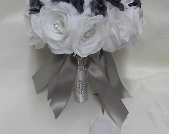 Wedding Silk Flower Bouquet Your Colors 2 pieces White Bride's Bouquet Roses Gray Charcoal Hydrangeas with Groom's Boutonniere FREE SHIPPING