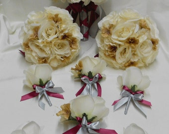 Wedding Silk Flower Bridal Bouquets 18 pcs Package Champagne Ivory Silver Burgundy Toss Bridesmaids  Boutonnieres Corsages FREE SHIPPING