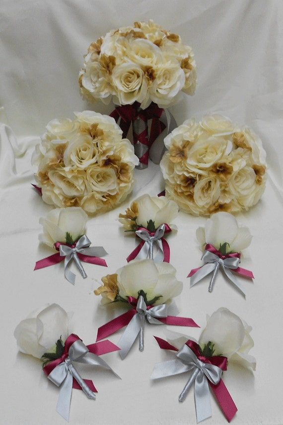 Wedding Bouquet Packages Silk : Wedding silk flower bridal bouquets pcs package champagne