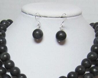 Black Earrings Black Turquoise Statement Earrings Big Beads 12mm