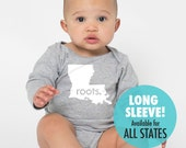 All States 'Made' or 'Roots' Long Sleeve Cotton Baby One Piece Bodysuit - Infant Girl and Boy