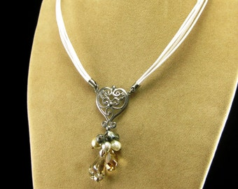 Vintage Style Victorian White Leather Choker with Swarovski Crystal Dangle - Made to order